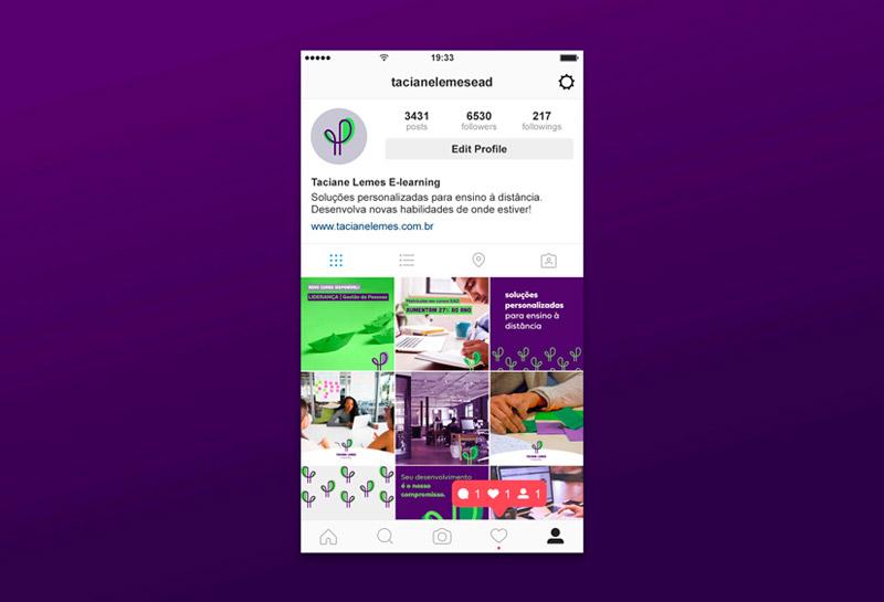 Templates para Posts de Feed do Instagram - Taciane Lemes e-learning 2