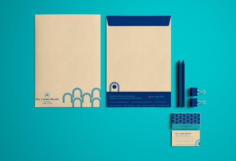Envelopes e Cartão de Visita - Dra Camila Olivotti