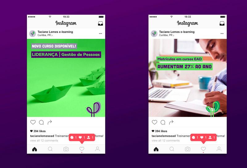 Templates para Posts de Feed do Instagram - Taciane Lemes e-learning